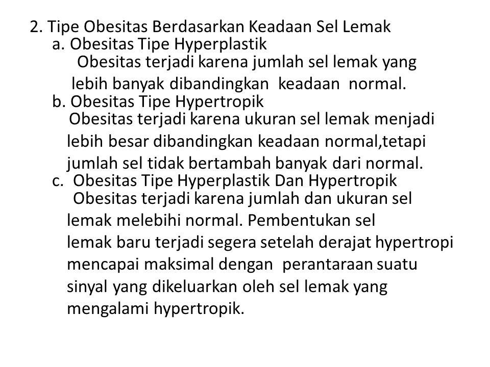2. Tipe Obesitas Berdasarkan Keadaan Sel Lemak a. Obesitas Tipe Hyperplastik Obesitas terjadi karena jumlah sel lemak yang lebih banyak dibandingkan k