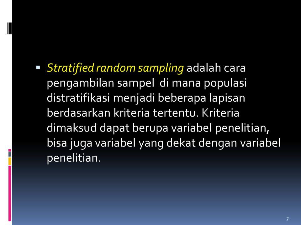 Systematic Random Sampling 6 775 525 200 Strata I Strata II Strata III 1.Sp=5 2.Sp + K ; 5 + 10=15 3.Sp + 2K ; 5 + 20=25 4.Sp + 3K ; 5 + 30=35 5.Sp +