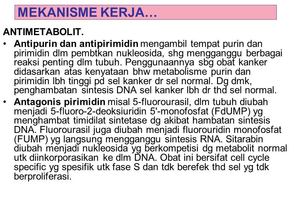 MEKANISME KERJA… ANTIMETABOLIT. Antipurin dan antipirimidin mengambil tempat purin dan pirimidin dlm pembtkan nukleosida, shg mengganggu berbagai reak
