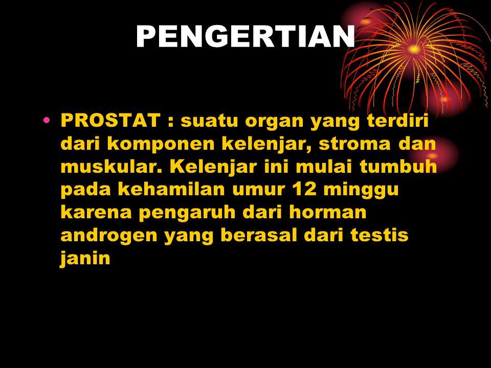PENGERTIAN Kanker prostat adalah penyakit kanker yang berkembang di prostat, sebuah kelenjar dalam sistem reproduksi lelaki.