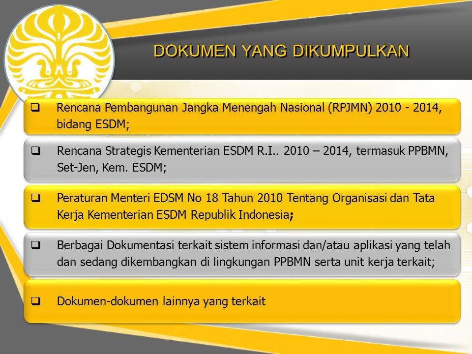 DOKUMEN YANG DIKUMPULKAN  Rencana Pembangunan Jangka Menengah Nasional (RPJMN) 2010 - 2014, bidang ESDM;  Rencana Strategis Kementerian ESDM R.I..