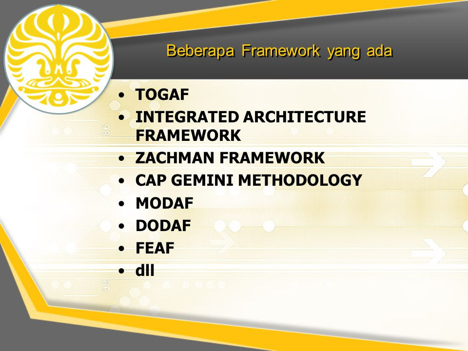 Beberapa Framework yang ada TOGAF INTEGRATED ARCHITECTURE FRAMEWORK ZACHMAN FRAMEWORK CAP GEMINI METHODOLOGY MODAF DODAF FEAF dll