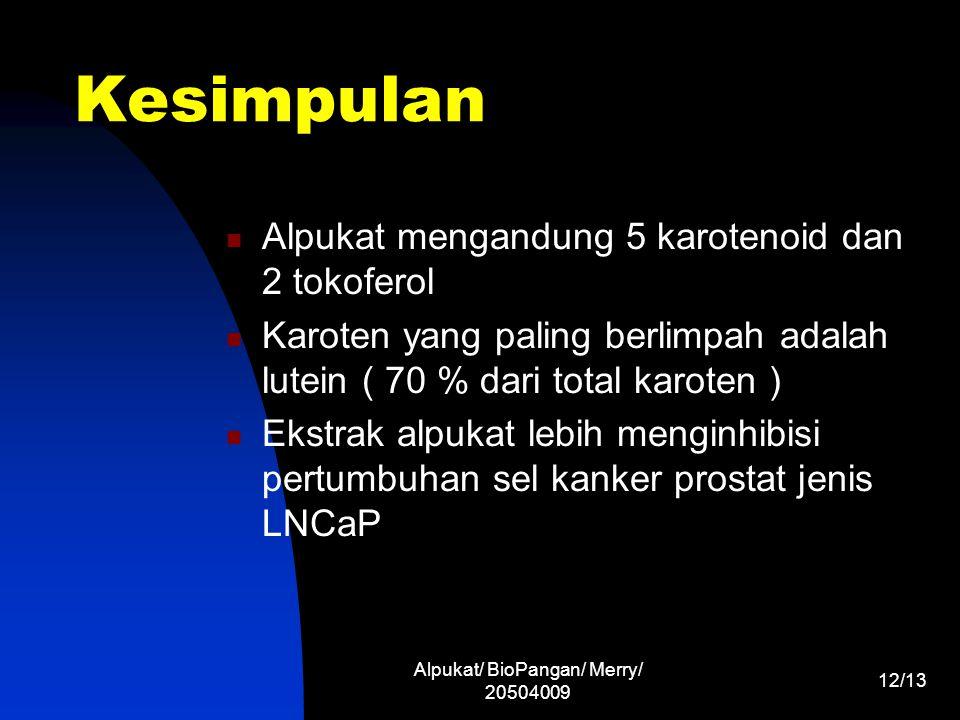 Alpukat/ BioPangan/ Merry/ 20504009 12/13 Kesimpulan Alpukat mengandung 5 karotenoid dan 2 tokoferol Karoten yang paling berlimpah adalah lutein ( 70