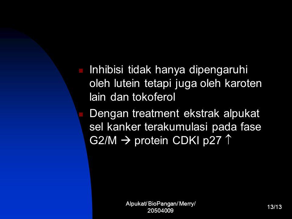 Alpukat/ BioPangan/ Merry/ 20504009 13/13 Inhibisi tidak hanya dipengaruhi oleh lutein tetapi juga oleh karoten lain dan tokoferol Dengan treatment ek