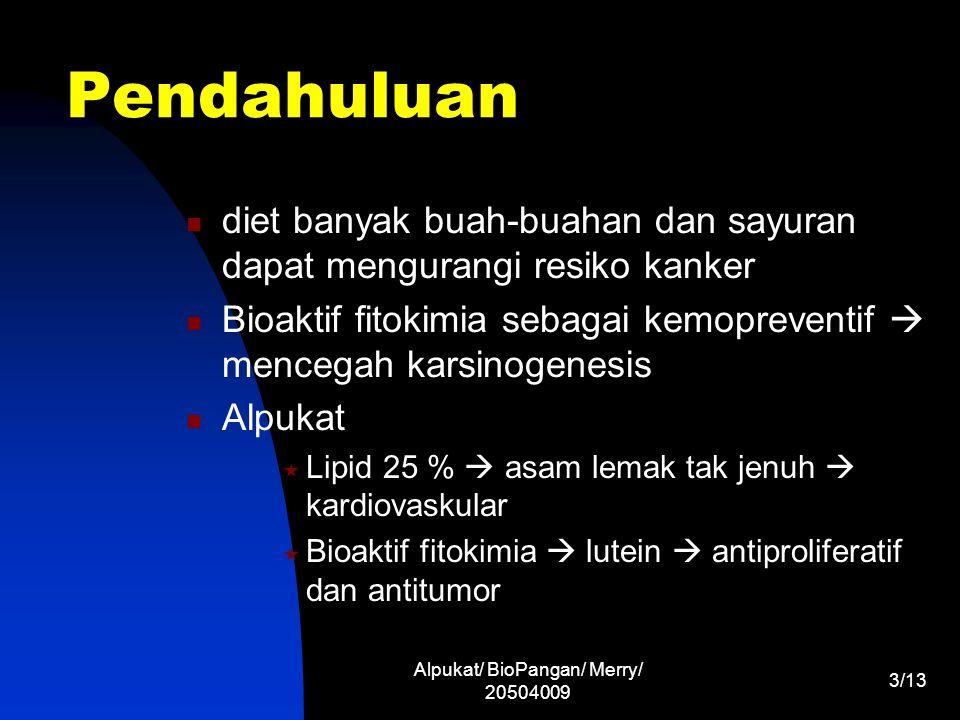 Alpukat/ BioPangan/ Merry/ 20504009 4/13 Latar Belakang Alpukat ada yang mengandung lutein dan ada yg tidak Warna kuning kehijauan  lutein Bioaktif fitokimia larut dalam lipid ( lipid- soluble )