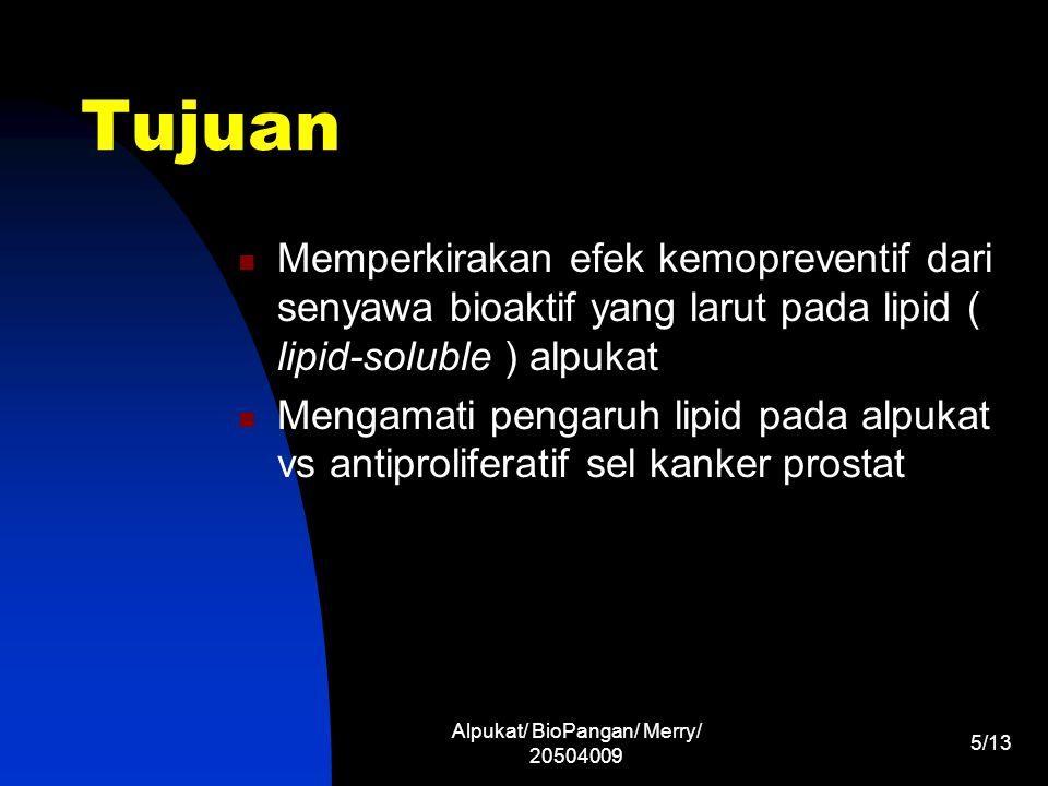 Alpukat/ BioPangan/ Merry/ 20504009 6/13 Metode Sampling  Alpukat matang (Jan, Apr, Mei) Ekstraksi dan Saponifikasi  Pelarut 0,1 %(w/v) BHT  antioksidan Analisis HPLC Recovery Persiapan ekstrak alpukat untuk studi sel