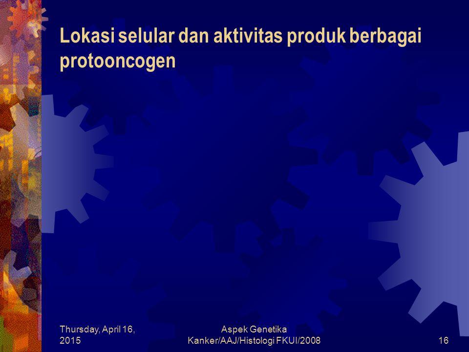Thursday, April 16, 2015 Aspek Genetika Kanker/AAJ/Histologi FKUI/200816 Lokasi selular dan aktivitas produk berbagai protooncogen