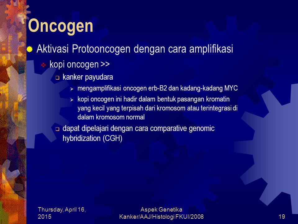 Thursday, April 16, 2015 Aspek Genetika Kanker/AAJ/Histologi FKUI/200819 Oncogen  Aktivasi Protooncogen dengan cara amplifikasi  kopi oncogen >>  k