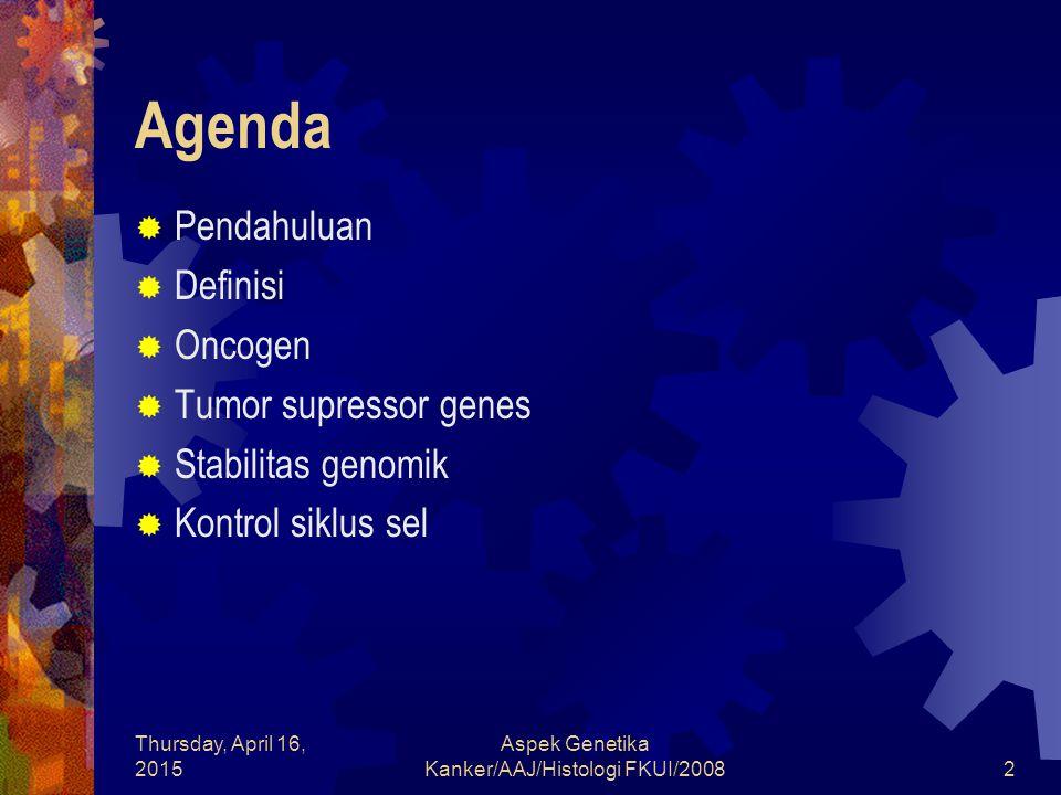 Thursday, April 16, 2015 Aspek Genetika Kanker/AAJ/Histologi FKUI/20082 Agenda  Pendahuluan  Definisi  Oncogen  Tumor supressor genes  Stabilitas