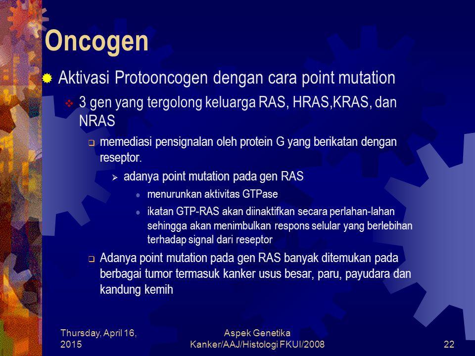 Thursday, April 16, 2015 Aspek Genetika Kanker/AAJ/Histologi FKUI/200822 Oncogen  Aktivasi Protooncogen dengan cara point mutation  3 gen yang tergo