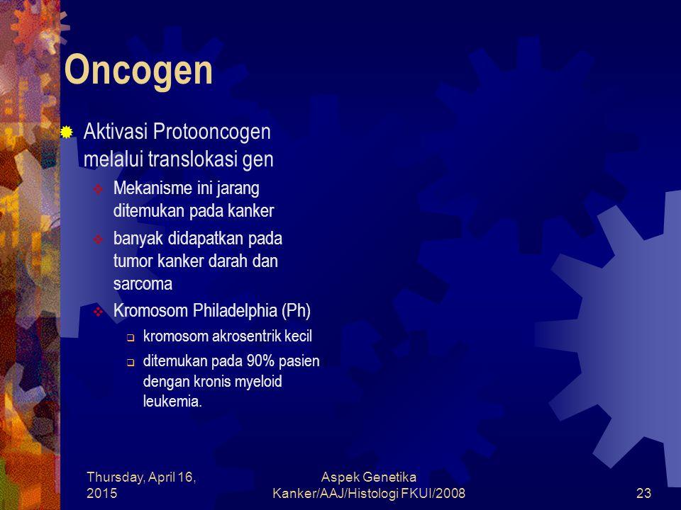 Thursday, April 16, 2015 Aspek Genetika Kanker/AAJ/Histologi FKUI/200823 Oncogen  Aktivasi Protooncogen melalui translokasi gen  Mekanisme ini jaran