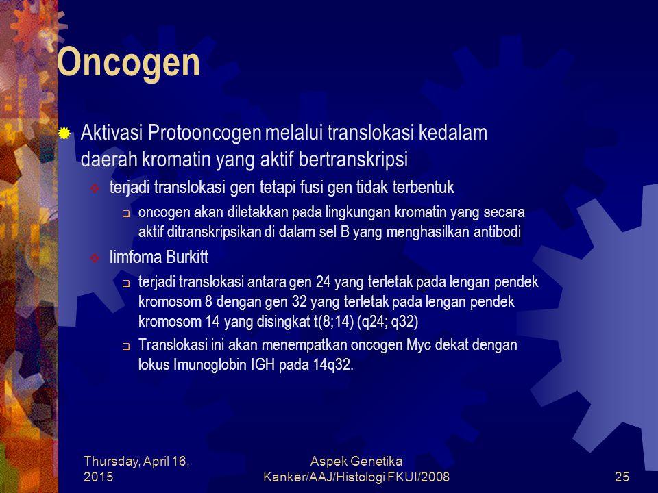 Thursday, April 16, 2015 Aspek Genetika Kanker/AAJ/Histologi FKUI/200825 Oncogen  Aktivasi Protooncogen melalui translokasi kedalam daerah kromatin y