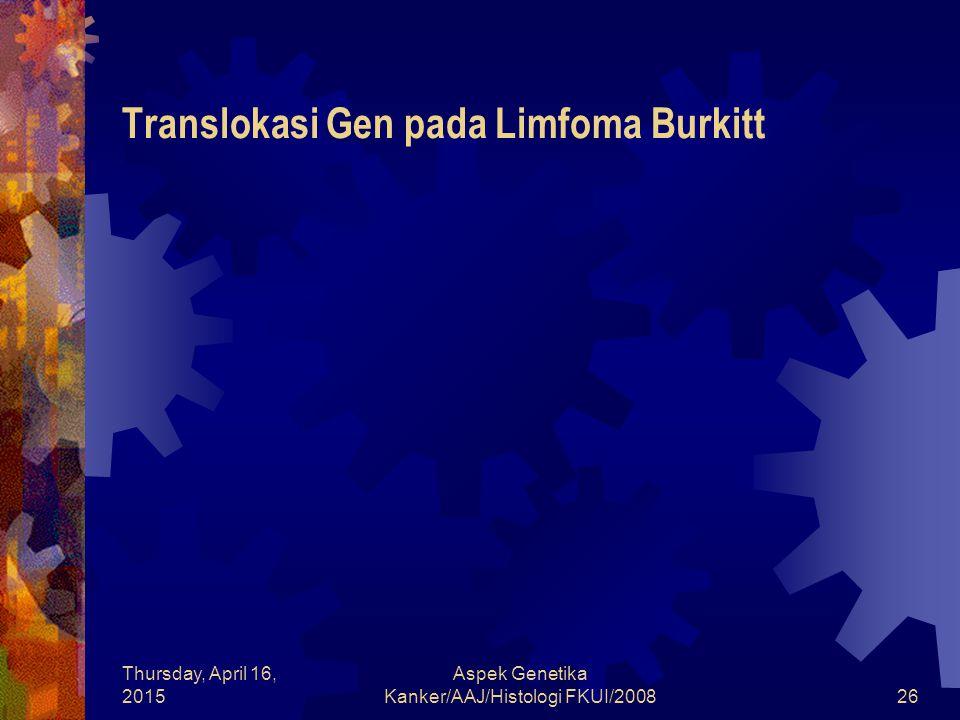 Thursday, April 16, 2015 Aspek Genetika Kanker/AAJ/Histologi FKUI/200826 Translokasi Gen pada Limfoma Burkitt