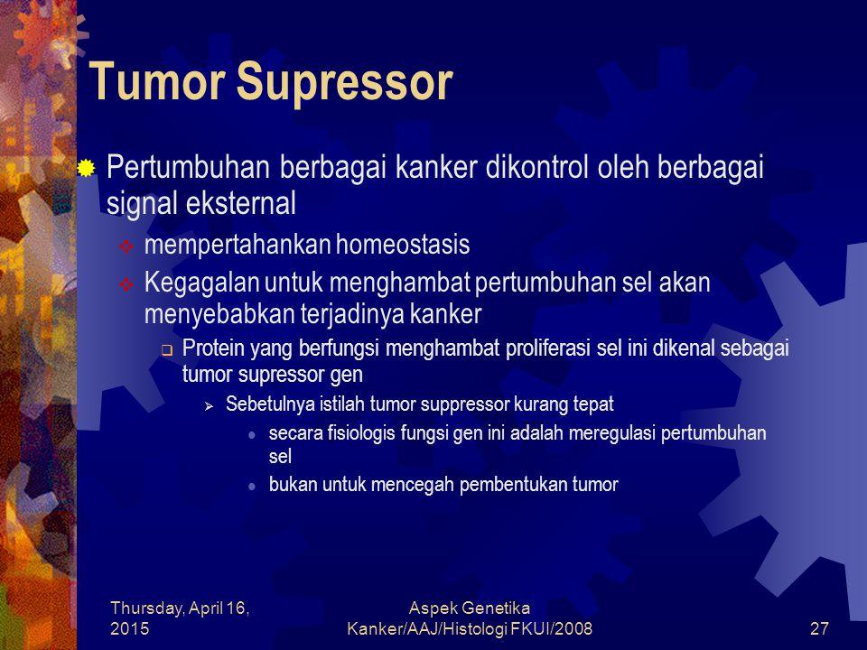 Thursday, April 16, 2015 Aspek Genetika Kanker/AAJ/Histologi FKUI/200827 Tumor Supressor  Pertumbuhan berbagai kanker dikontrol oleh berbagai signal