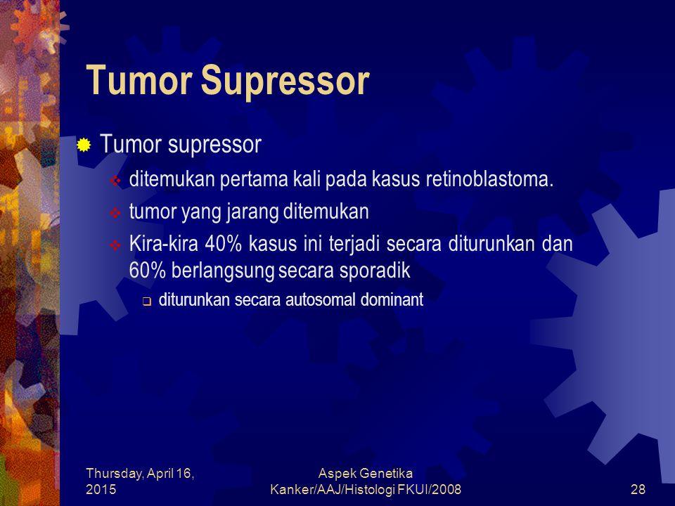 Thursday, April 16, 2015 Aspek Genetika Kanker/AAJ/Histologi FKUI/200828 Tumor Supressor  Tumor supressor  ditemukan pertama kali pada kasus retinob