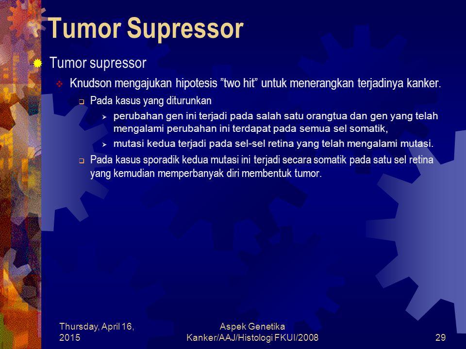 "Thursday, April 16, 2015 Aspek Genetika Kanker/AAJ/Histologi FKUI/200829 Tumor Supressor  Tumor supressor  Knudson mengajukan hipotesis ""two hit"" un"