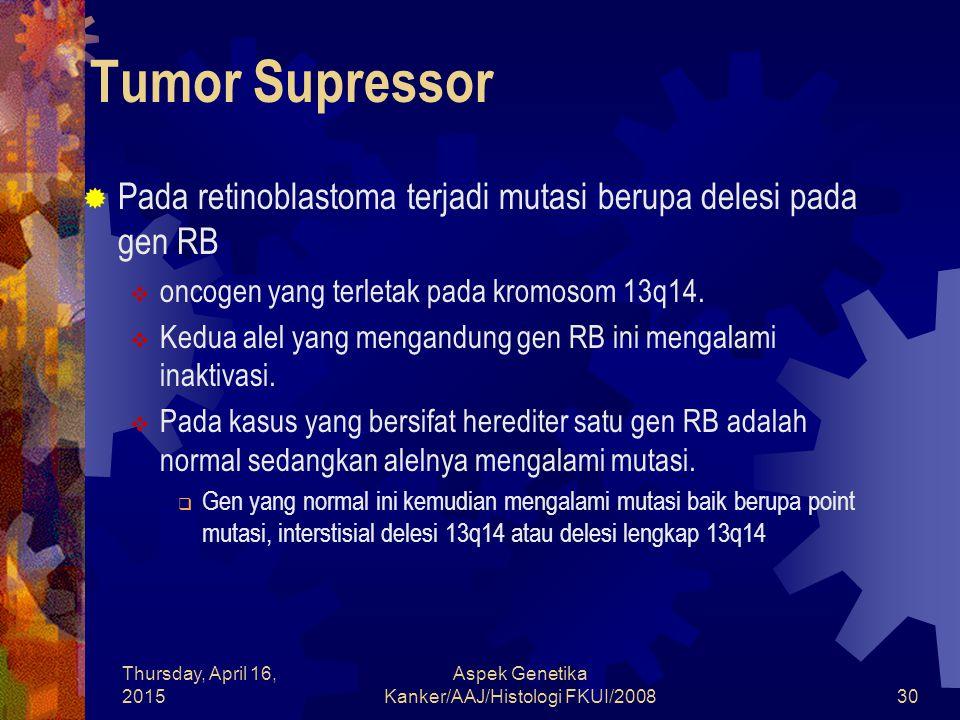 Thursday, April 16, 2015 Aspek Genetika Kanker/AAJ/Histologi FKUI/200830 Tumor Supressor  Pada retinoblastoma terjadi mutasi berupa delesi pada gen R