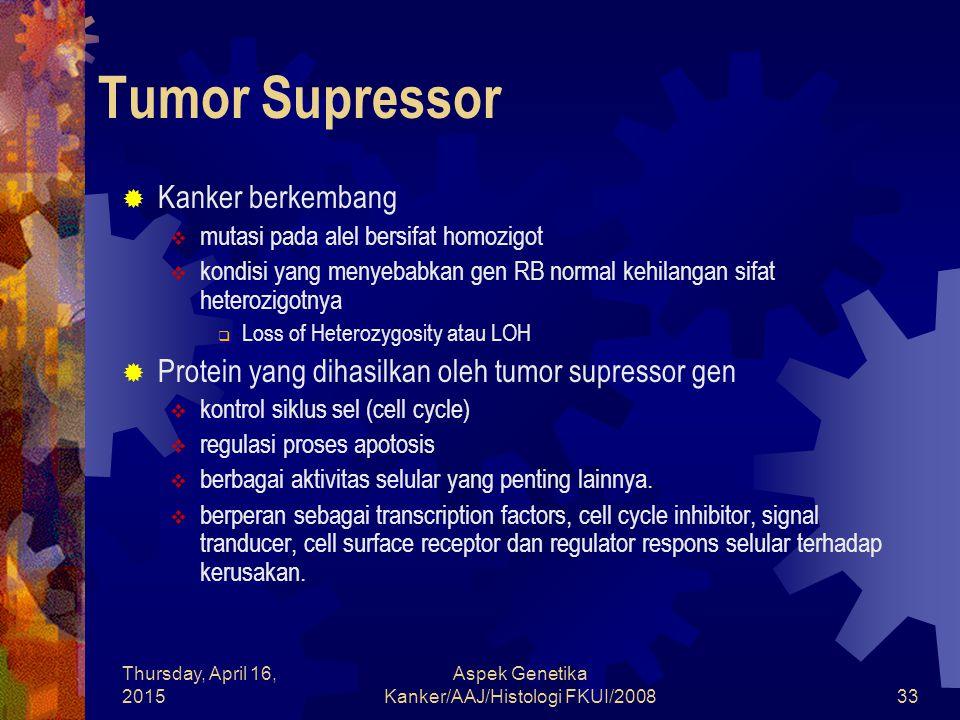 Thursday, April 16, 2015 Aspek Genetika Kanker/AAJ/Histologi FKUI/200833 Tumor Supressor  Kanker berkembang  mutasi pada alel bersifat homozigot  k