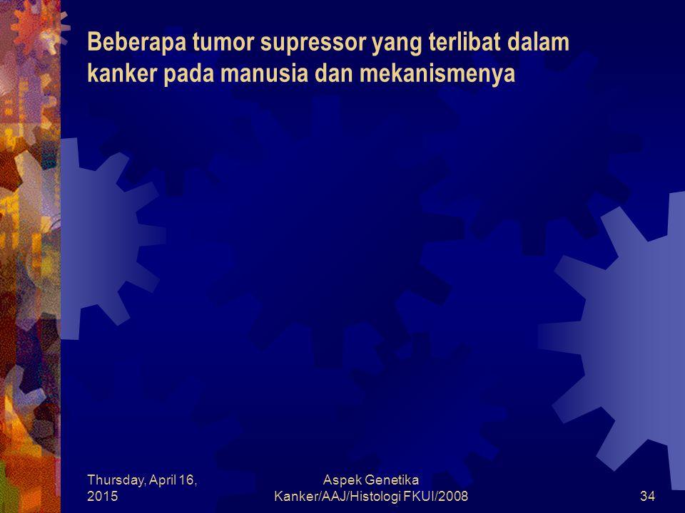 Thursday, April 16, 2015 Aspek Genetika Kanker/AAJ/Histologi FKUI/200834 Beberapa tumor supressor yang terlibat dalam kanker pada manusia dan mekanism