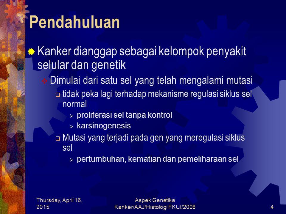 Thursday, April 16, 2015 Aspek Genetika Kanker/AAJ/Histologi FKUI/20084 Pendahuluan  Kanker dianggap sebagai kelompok penyakit selular dan genetik 