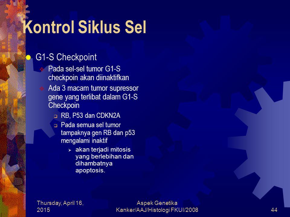 Thursday, April 16, 2015 Aspek Genetika Kanker/AAJ/Histologi FKUI/200844 Kontrol Siklus Sel  G1-S Checkpoint  Pada sel-sel tumor G1-S checkpoin akan