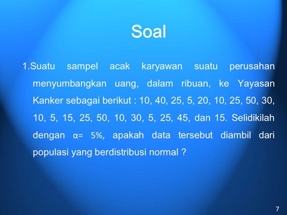 Pengujian : 1.Ho : Data bersasal dari populasi yg berdistribusi Normal Ha : Data bukan berasal dari populasi yang berdistribusi Normal 2.Alpha : 0.05 3.Statistik Uji : No 1 2...