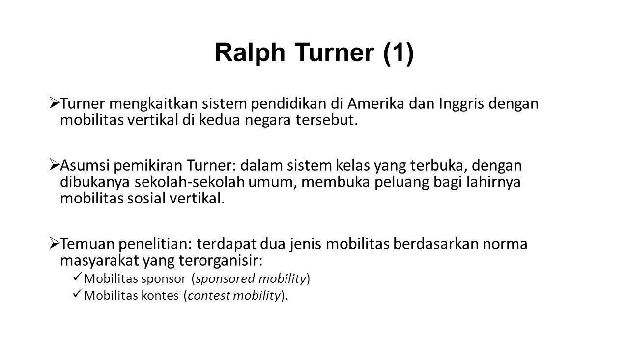 Ralph Turner (1)  Turner mengkaitkan sistem pendidikan di Amerika dan Inggris dengan mobilitas vertikal di kedua negara tersebut.  Asumsi pemikiran