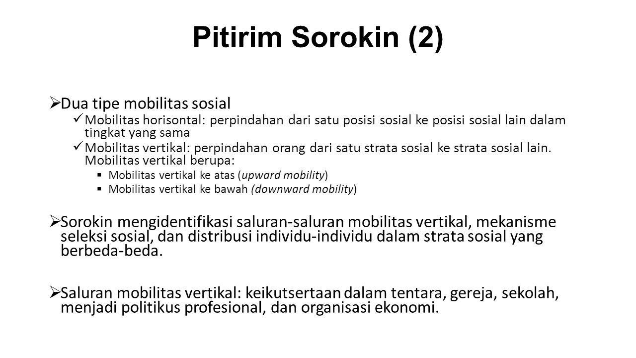 Pitirim Sorokin (2)  Dua tipe mobilitas sosial Mobilitas horisontal: perpindahan dari satu posisi sosial ke posisi sosial lain dalam tingkat yang sam