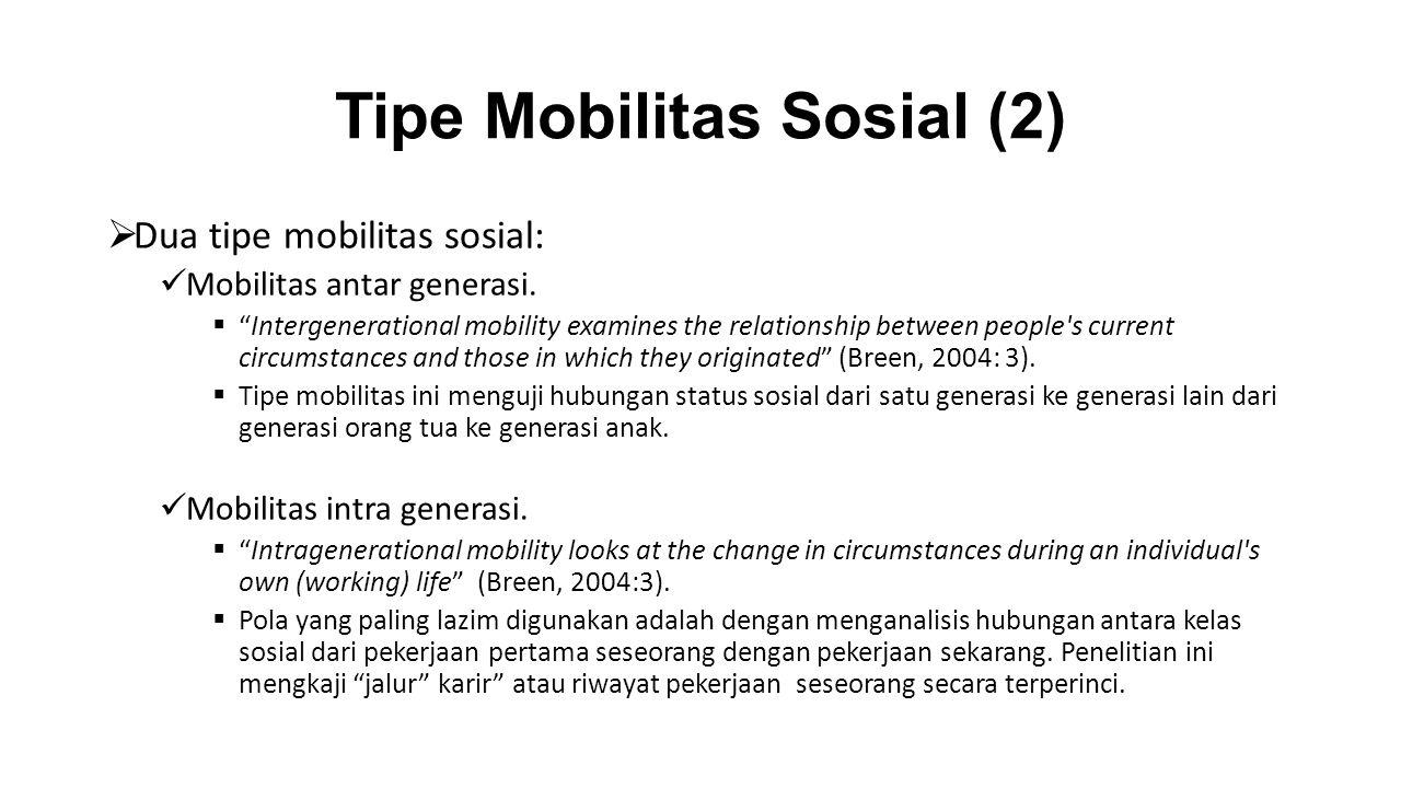 "Tipe Mobilitas Sosial (2)  Dua tipe mobilitas sosial: Mobilitas antar generasi.  ""Intergenerational mobility examines the relationship between peopl"