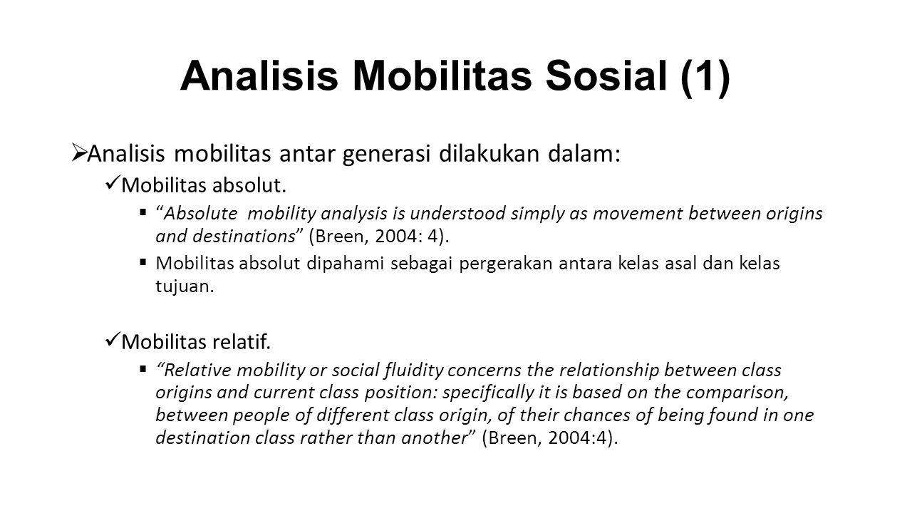 """Analisis Mobilitas Sosial (1)  Analisis mobilitas antar generasi dilakukan dalam: Mobilitas absolut.  """"Absolute mobility analysis is understood simp"""