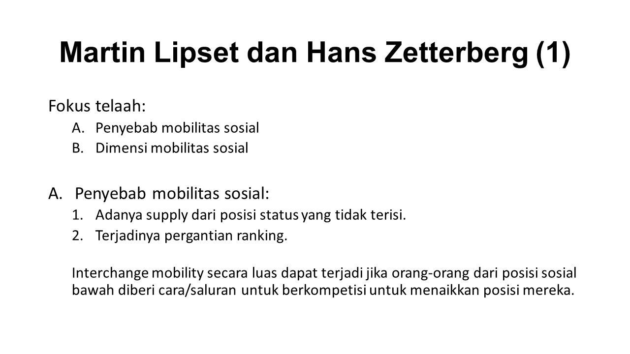 Martin Lipset dan Hans Zetterberg (1) Fokus telaah: A.Penyebab mobilitas sosial B.Dimensi mobilitas sosial A.Penyebab mobilitas sosial: 1.Adanya suppl