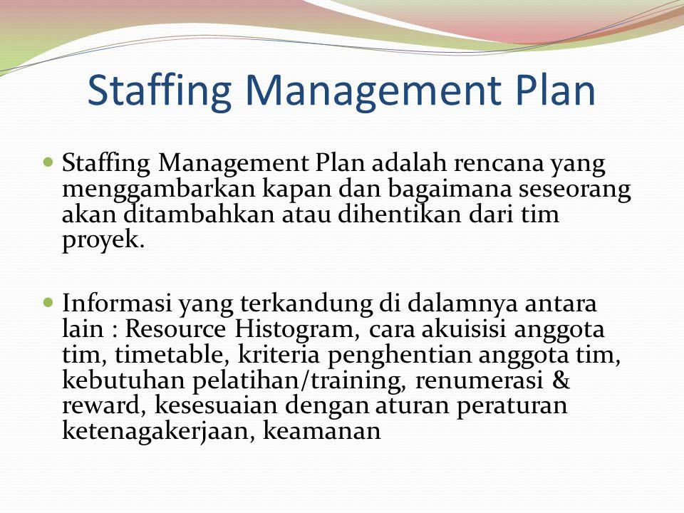 Staffing Management Plan Staffing Management Plan adalah rencana yang menggambarkan kapan dan bagaimana seseorang akan ditambahkan atau dihentikan dari tim proyek.
