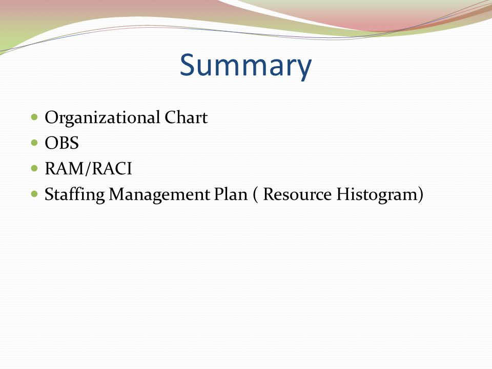 Summary Organizational Chart OBS RAM/RACI Staffing Management Plan ( Resource Histogram)