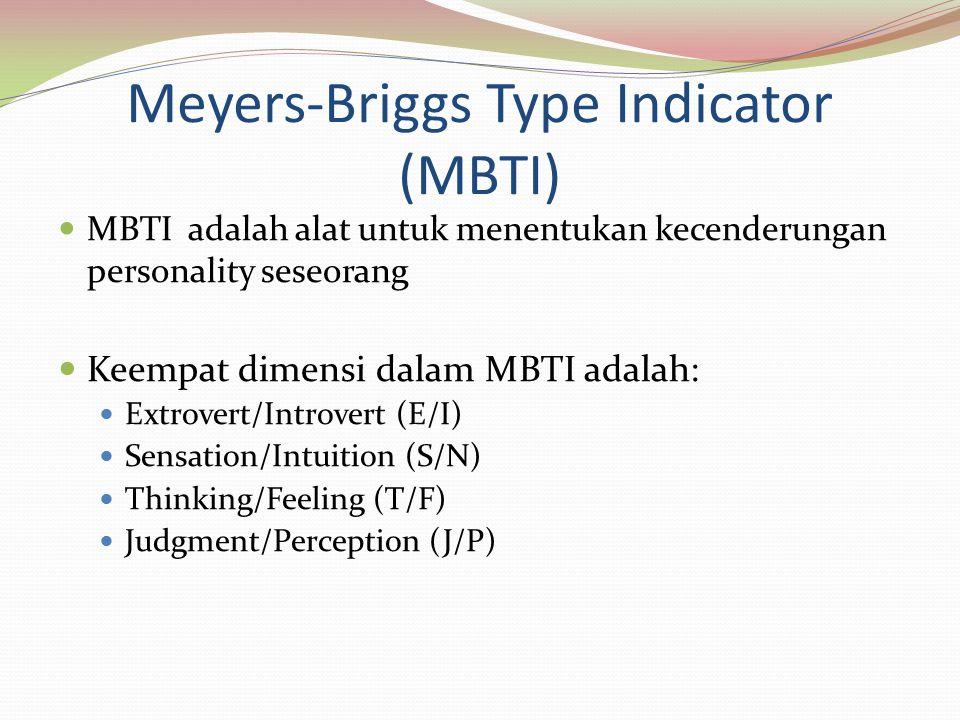 Meyers-Briggs Type Indicator (MBTI) MBTI adalah alat untuk menentukan kecenderungan personality seseorang Keempat dimensi dalam MBTI adalah: Extrovert/Introvert (E/I) Sensation/Intuition (S/N) Thinking/Feeling (T/F) Judgment/Perception (J/P)