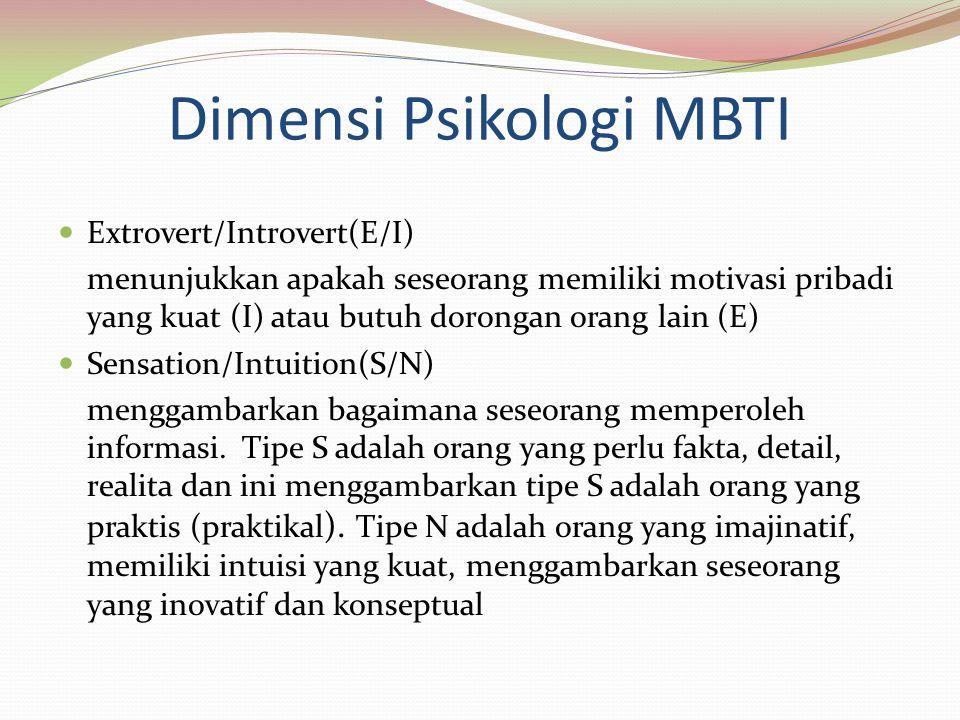 Dimensi Psikologi MBTI Extrovert/Introvert(E/I) menunjukkan apakah seseorang memiliki motivasi pribadi yang kuat (I) atau butuh dorongan orang lain (E) Sensation/Intuition(S/N) menggambarkan bagaimana seseorang memperoleh informasi.