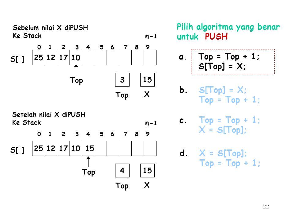 22 Pilih algoritma yang benar untuk PUSH a.Top = Top + 1; S[Top] = X; b.S[Top] = X; Top = Top + 1; c.Top = Top + 1; X = S[Top]; d.X = S[Top]; Top = Top + 1; Top X 315 Top 25121710 S[ ] Top X 415 Top 25121710 15 S[ ] 0 1 2 3 4 5 6 7 8 9 n- 1 0 1 2 3 4 5 6 7 8 9 n- 1 Setelah nilai X diPUSH Ke Stack Sebelum nilai X diPUSH Ke Stack