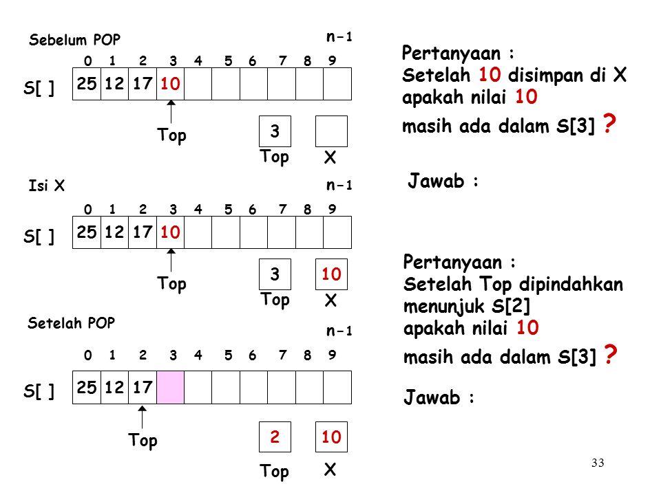 33 Pertanyaan : Setelah 10 disimpan di X apakah nilai 10 masih ada dalam S[3] ? Pertanyaan : Setelah Top dipindahkan menunjuk S[2] apakah nilai 10 mas