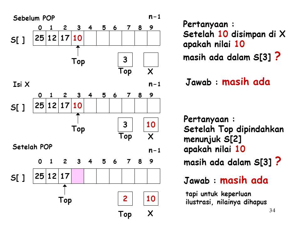 34 Pertanyaan : Setelah 10 disimpan di X apakah nilai 10 masih ada dalam S[3] ? Pertanyaan : Setelah Top dipindahkan menunjuk S[2] apakah nilai 10 mas