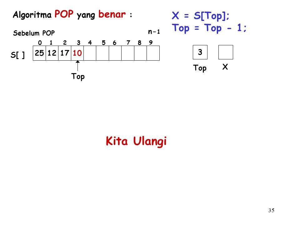35 Algoritma POP yang benar : X = S[Top]; Top = Top - 1; Kita Ulangi Top 25121710 S[ ] 0 1 2 3 4 5 6 7 8 9 n- 1 Sebelum POP Top X 3