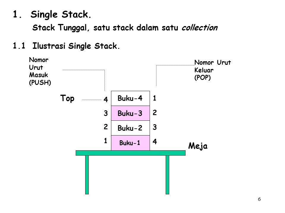 6 Buku-4 Buku-3 Buku-2 Buku-1 43214321 12341234 Top Meja Nomor Urut Masuk (PUSH) Nomor Urut Keluar (POP) 1. Single Stack. Stack Tunggal, satu stack da