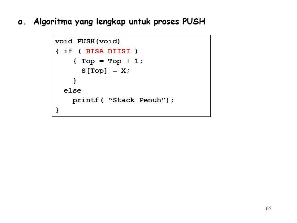 """65 a. Algoritma yang lengkap untuk proses PUSH void PUSH(void) { if ( BISA DIISI ) { Top = Top + 1; S[Top] = X; } else printf( """"Stack Penuh""""); }"""