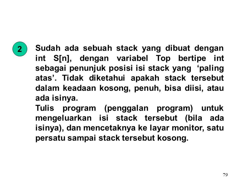 79 Sudah ada sebuah stack yang dibuat dengan int S[n], dengan variabel Top bertipe int sebagai penunjuk posisi isi stack yang 'paling atas'.