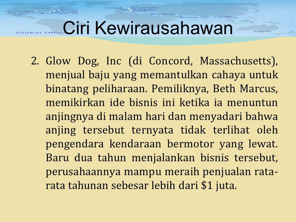 Ciri Kewirausahawan 2.Glow Dog, Inc (di Concord, Massachusetts), menjual baju yang memantulkan cahaya untuk binatang peliharaan. Pemiliknya, Beth Marc