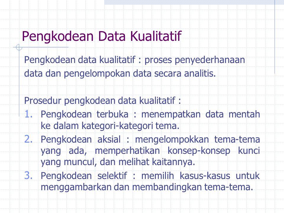 Pengkodean Data Kualitatif Pengkodean data kualitatif : proses penyederhanaan data dan pengelompokan data secara analitis. Prosedur pengkodean data ku