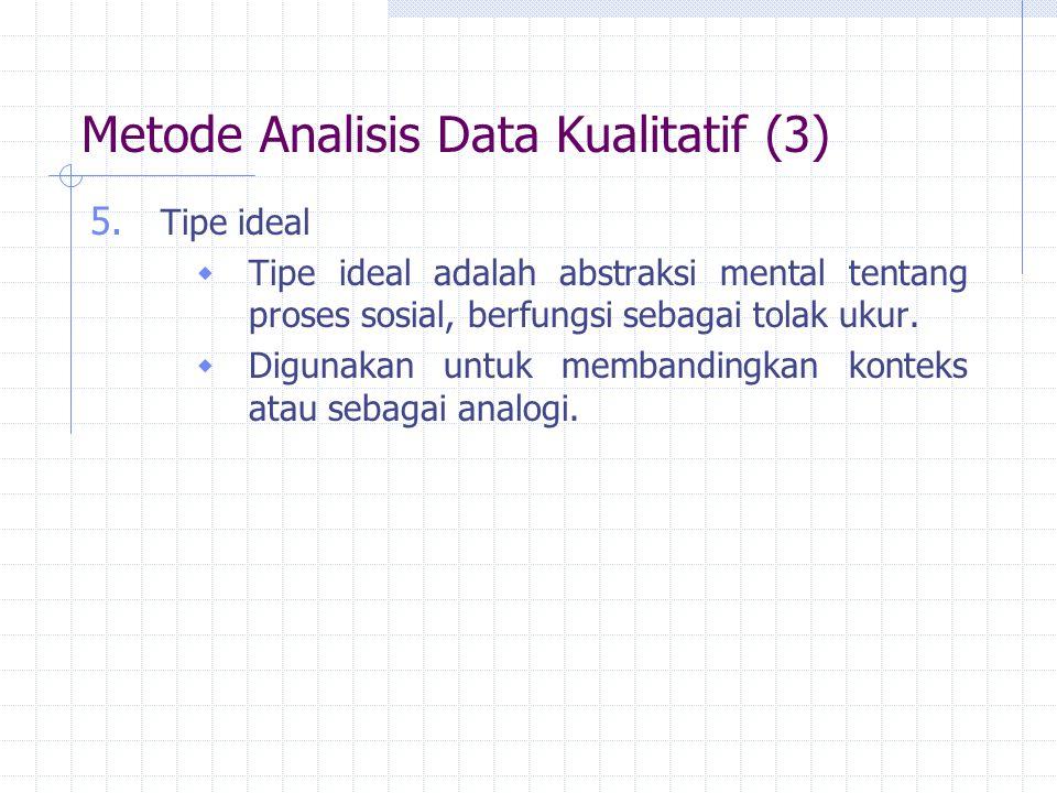 Metode Analisis Data Kualitatif (3) 5. Tipe ideal  Tipe ideal adalah abstraksi mental tentang proses sosial, berfungsi sebagai tolak ukur.  Digunaka