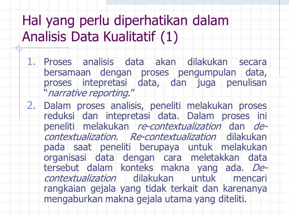 Hal yang perlu diperhatikan dalam Analisis Data Kualitatif (1) 1. Proses analisis data akan dilakukan secara bersamaan dengan proses pengumpulan data,