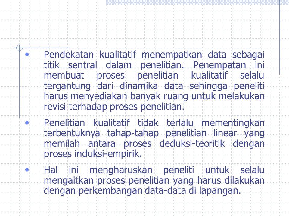 Pendekatan kualitatif menempatkan data sebagai titik sentral dalam penelitian.