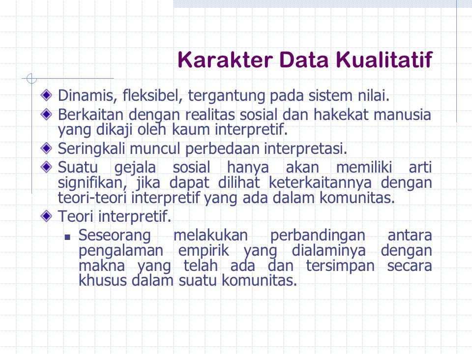 Karakter Data Kualitatif Dinamis, fleksibel, tergantung pada sistem nilai. Berkaitan dengan realitas sosial dan hakekat manusia yang dikaji oleh kaum