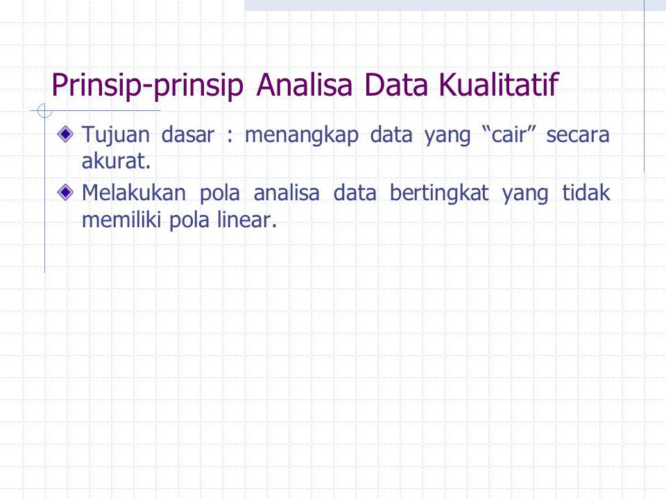 """Prinsip-prinsip Analisa Data Kualitatif Tujuan dasar : menangkap data yang """"cair"""" secara akurat. Melakukan pola analisa data bertingkat yang tidak mem"""