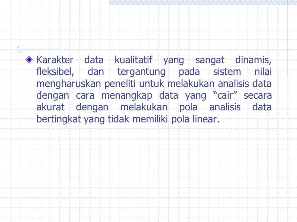 Karakter data kualitatif yang sangat dinamis, fleksibel, dan tergantung pada sistem nilai mengharuskan peneliti untuk melakukan analisis data dengan c